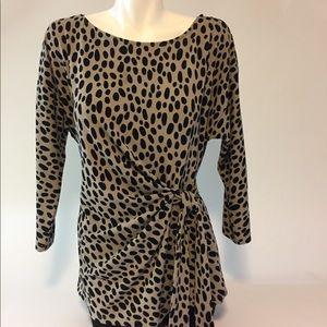 Ann Taylor Black White Long Sleeves Blouse Size L